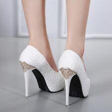 Zapatos de Salón Alto Novia 12 CM Plataforma Blanco Purpurina Piel Sintético
