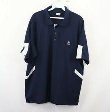 Vintage Fila Sport Mens XL Spell Out Short Sleeve Polo Golf Shirt Navy Blue