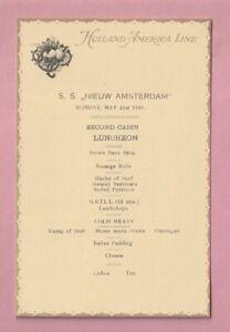 Holland America shipping line Luncheon menu, R.M.S. Nieuw Amsterdam. 1923.