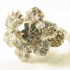 USA RING Swarovski element Cocktail silver FLOWER Crystal petal Sizable