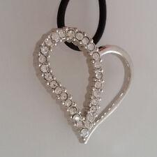 Kautschukkette Herz Anhänger 3 cm silberfarben Strass-Steine kristallklar *NEU*