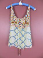 TB05957-BANANA REPUBLIC Women's 100% Silk Tank Top Multicolor Floral Waist Tie 4