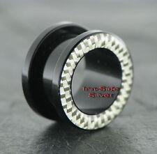 Kunststoff Piercing Ohr Tunnel Black Carbon Silver UV