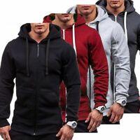Men Solid Color Zip Up Hoodie Classic Winter Hooded Sweatshirt Jacket Coat Tops