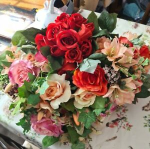Fake Flowers Bunches Roses Job Lot Mixed Wedding Craft Occasion silks artificial