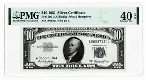 FR.1706  {AA BLOCK}  1953 $10 SILVER CERTIFICATE NOTE~~PMG EF40 EPQ