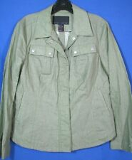 YANSI FUGEL Pretty GREEN CHAMBRAY WAXED LINEN JACKET Zipper Front MOTO CHIC 10
