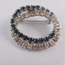 Vintage Double Ring of Rhinestones Brooch Pin Hand Soldered Chain Link