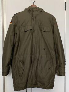 German Army Parka with Liner - Winter Coat Fleece Lined Hood Vintage Medium Size