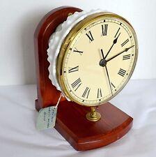 Handmade Clock Original Wood & Fenton Hobnail White Glass Country Mantel Shelf