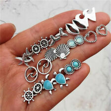 Lot 12 Pairs Mix Cute Earrings Sea Turtle Starfish Silver Ear Stud Earring Set