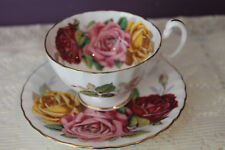STUNNING AYNSLEY TEA CUP AND SAUCER - HUGE RED PINK AND YELLOW CABBAGE ROSES