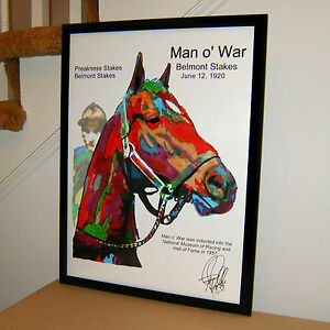 Man o War Thoroughbred Triple Crown Horse Racing Poster Print Wall Art 18x24