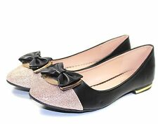 briana-09 New Bowknot Slip On Synthetic Casual Women Flats Shoes Black Size 8.5