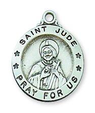 Medal St Jude Thaddeus Sterling Silver Medallion Pendant 18 inch Chain Catholic