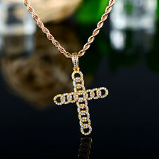Sevil 18K Gold Plated Cross Pendant W/ Swarovski Elements & Twisted Magic Chain