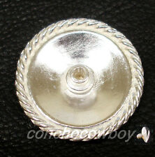 WESTERN HORSE TACK BRIGHT SILVER ROPE EDGE SADDLE CONCHO 1 inch screw back