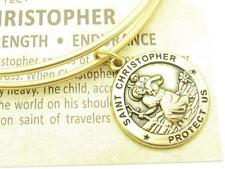 Wind & Fire Saint Christopher Gold Charm Wire Bangle Stackable Bangle Bracelet