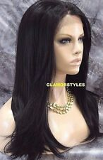 Straight Off Black Human Hair Blend Lace Front Full Wig Heat Ok Hair Piece NWT