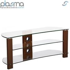 TNW Vision Curve 1000 Walnut and Clear Glass TV Stand