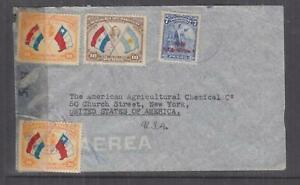 PARAGUAY, 1942 Airmail Censored cover to USA, 5p., 10p., 30p.(2)