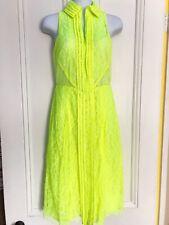 $1695 CHRISTOPHER KANE Neon Yellow Lace Midi Zip Collared Dress Size XS