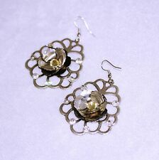 Silver Floral Drop Dangle Fashion Earrings 1980'