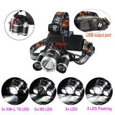 BORUiT 3X XM-L T6 LED USB Headlight Headlamp Hunting Head Light Lamp Torch 4Mode