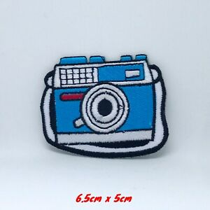 New Cute Camera Blue and White Iron on Sew on Embroidered Patch#1281