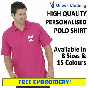 NEW 10 x Personalised Uneek Embroidered Polo Shirts, Workwear, Customised Polos