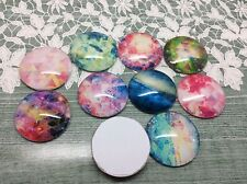 10 x Space Geometry Handmade Dome Cabochons 25mm jewellery making scrapbook