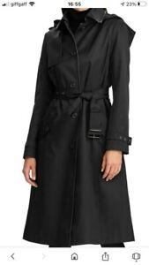 Ralph Lauren Black Hooded Trench Rain Coat