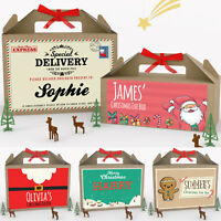 Personalised Christmas Eve Gift Box Xmas Party Favour Present 2 Sizes with Bow
