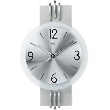 Ams 9229 Reloj de Pared Cuarzo Análogo Plateado Moderno con Aluminio y Cristal