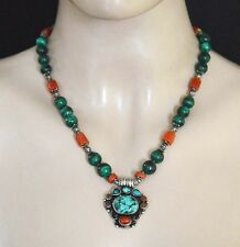 Ethnic Sterling Silver Necklace Tribal Jewelry malachite Stone Tibetan SX74
