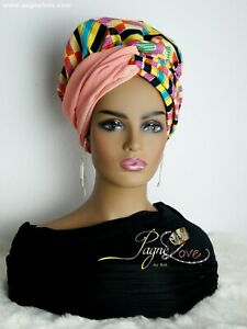 5 in 1 African headwrap Bonnet satin(inside, African fabric (outside)