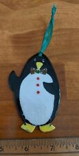 Handmade Painted and Glazed Ceramic Penguin with Bowtie Christmas Ornament