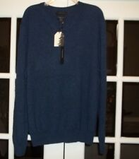 NWT Tahari Mens Heather Blue Pure Luxe 100% Cashmere V-Neck Sweater XL