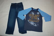 """Boys """"Coolest In The Galaxy"""" Planets L/S Waffle Knit Shirt Blue Jeans Size 5"""