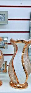 Crushed Diamond Ceramic Rose Gold Vase Diamante Home Decoration Ornament 25cm