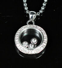 Sterling Silver Elegant Cubiz Zirconia Glass Pendant Necklace CZ gem Move Inside