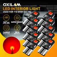 10x T10 Canbus Red Light LED Bulbs Car Interior License Light 192 194 W5W Super