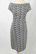 Diane Von Furstenberg Sz 10 White & Black Geo Ruched Side Sheath Dress 1463 L417