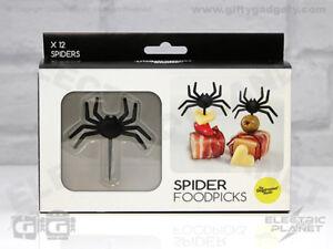 Spider Novelty Food Picks / Cocktail Sticks 12 Pack, Fun Gothic Gift, Halloween