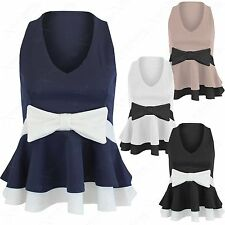 NEW WOMEN LADIES V-NECK BOW FRONT SLEEVELESS CONTRAST PEPLUM FRILL TOP BODYCON
