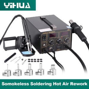 3 in 1 750W Iron Station Soldering Hot Air Gun Desoldering Rework Digital