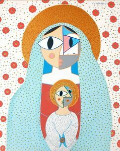Monge,original Abstract paintings on canvas ,European artist,Mother with child
