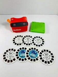 Vintage Red 3D View-Master by Tyco with Lot of 7 Discovery Slides & Case 1998