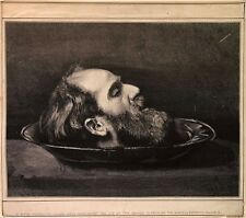 Wood engraving by unknown artist: A decapitated head on a plate