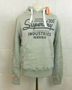 Men's Superdry Industries Entry Hoody Grey Marl Size L CR093 GG